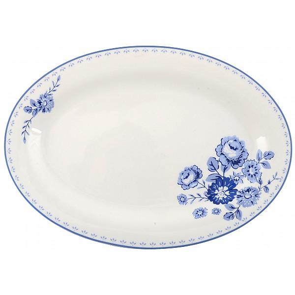 Uppläggningsfat/Ovalt fat Blue Rose