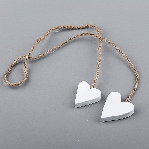 Trähjärtan 2 st på snöre Vit - 3 cm