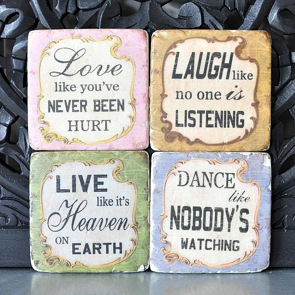 Glasunderlägg Love Laugh Live Dance