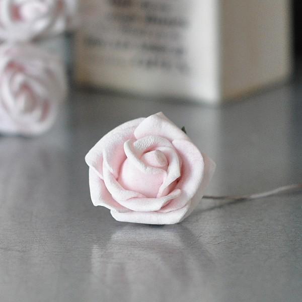 Dekorationsros Soft Rosa - 2,5 cm