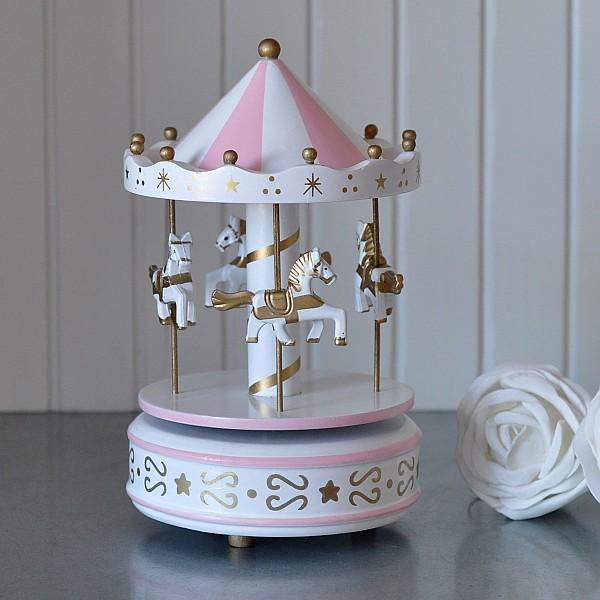 Speldosa Karusell i trä Rosa/Vit med detaljer i guld - Mellan