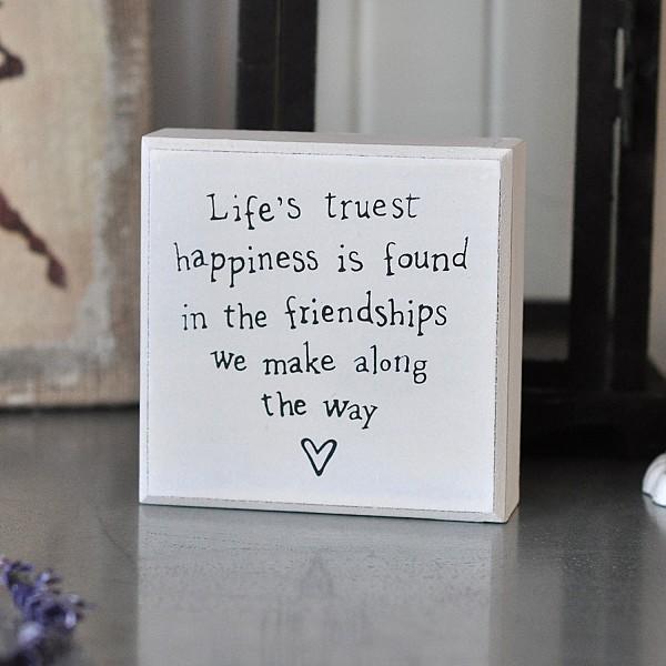 Liten Tavla/Block Life's truest happiness