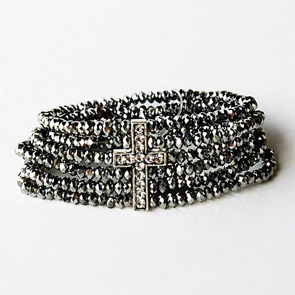 Armband Kors och grå pärlor