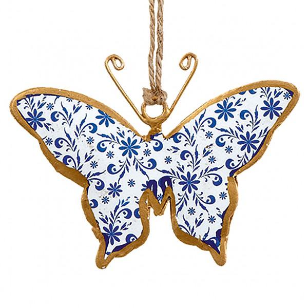 Fjäril i plåt - Vit/Blå