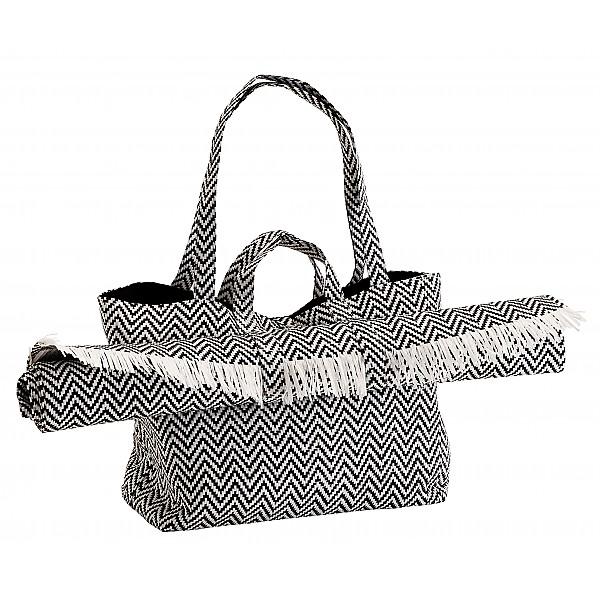 Strandväska med matta - Svart/Vit