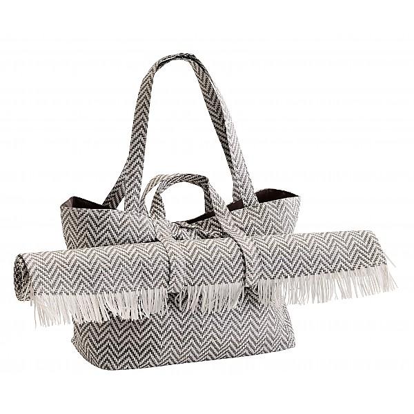 Strandväska med matta - Grå/Vit