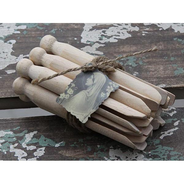 Gammaldags klädnypor i trä - 10 st