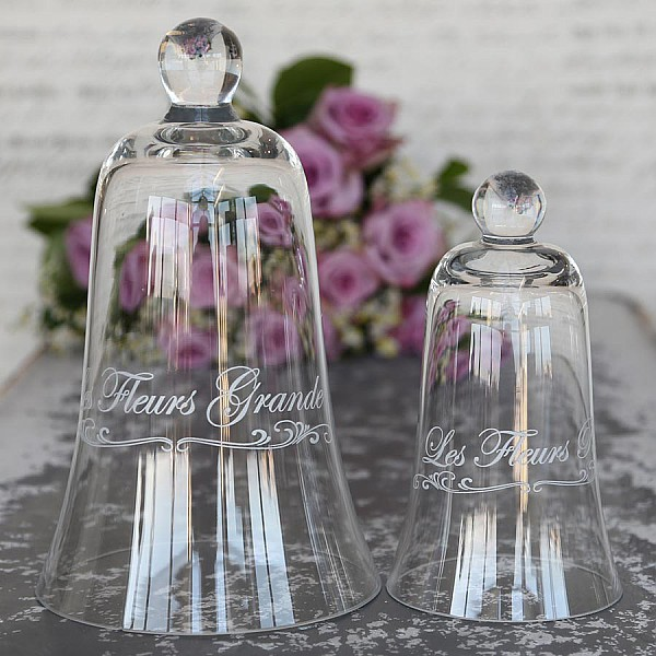 Glasklocka med text Les Fleurs Grande - Stor