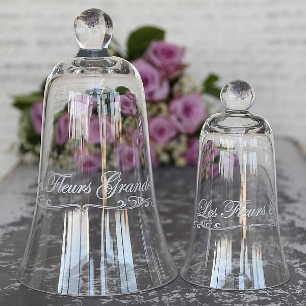 Glasklocka med text Les Fleurs Grande - Liten