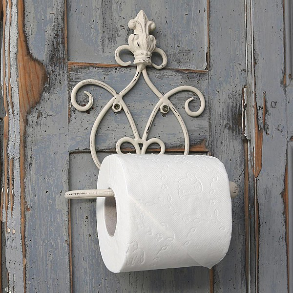 Toilet paper holder crown antique white chic antique for Commode style shabby chic