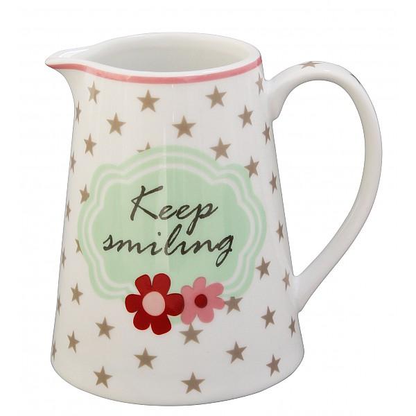 Happy Creamer / Grädd- / Mjölkkanna Keep smiling - Vit