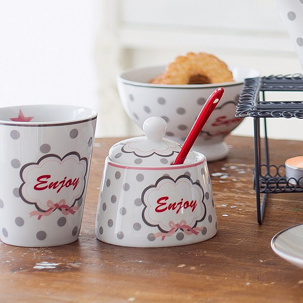 Happy Sugar Bowl / Sockerskål Enjoy - Vit