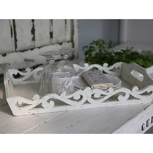 Bricka med mönster - Antikvit
