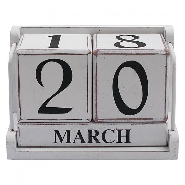Bordskalender/Datumkub - Vit