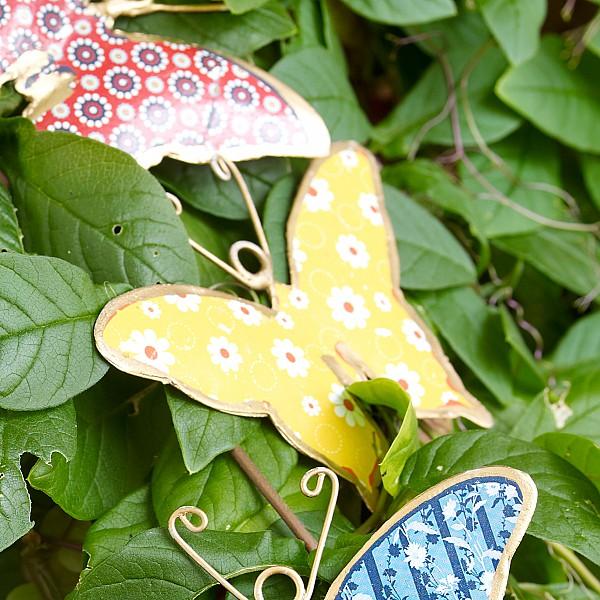Fjäril i plåt - Gul
