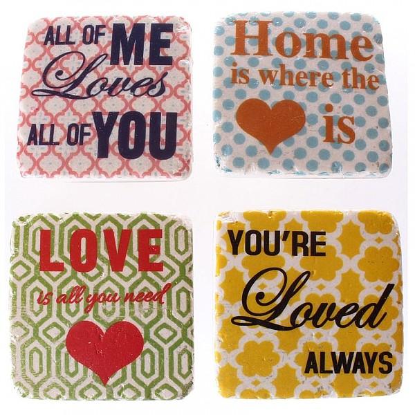 Glasunderlägg All of me Home Love Loved