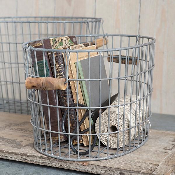 Oval korg med trähandtag - Liten