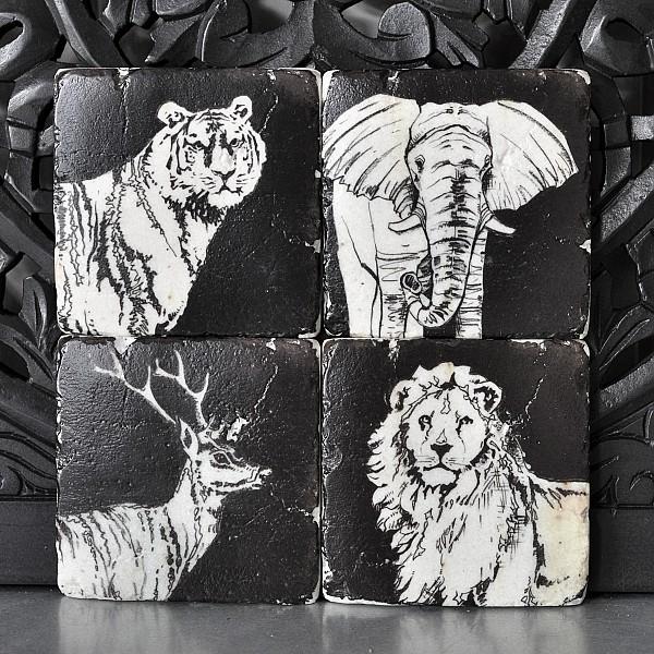 Glasunderlägg Tiger Elefant Lejon Hjort
