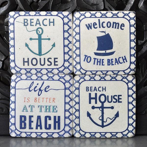 Glasunderlägg Beach House