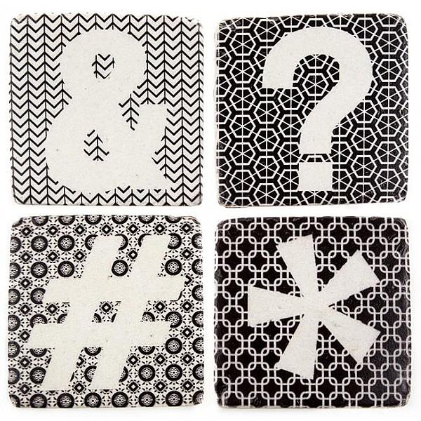 Glasunderlägg Ampersand Frågetecken Hashtag Asterisk