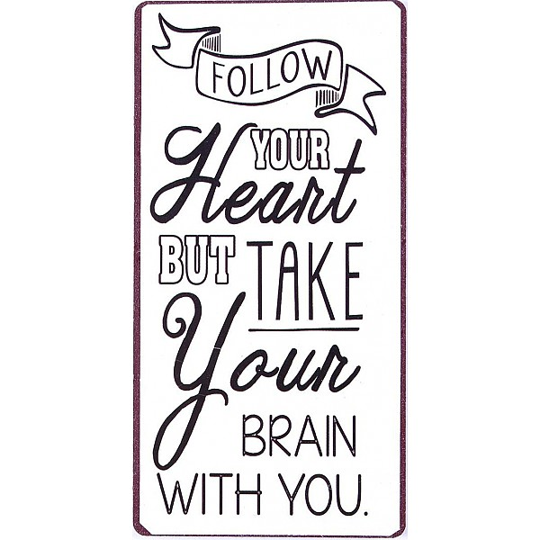 Magnet/Kylskåpsmagnet Follow your heart but take your brain with you - Vit