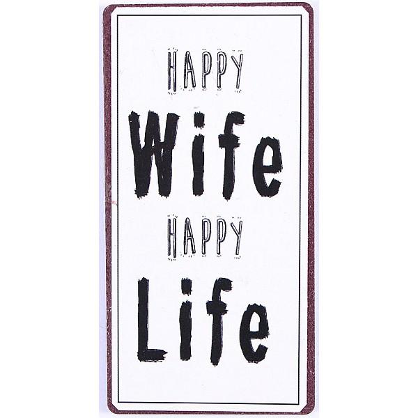 Magnet/Kylskåpsmagnet Happy wife happy life