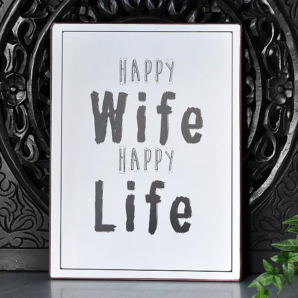 Plåtskylt Happy Wife Happy Life - Vit