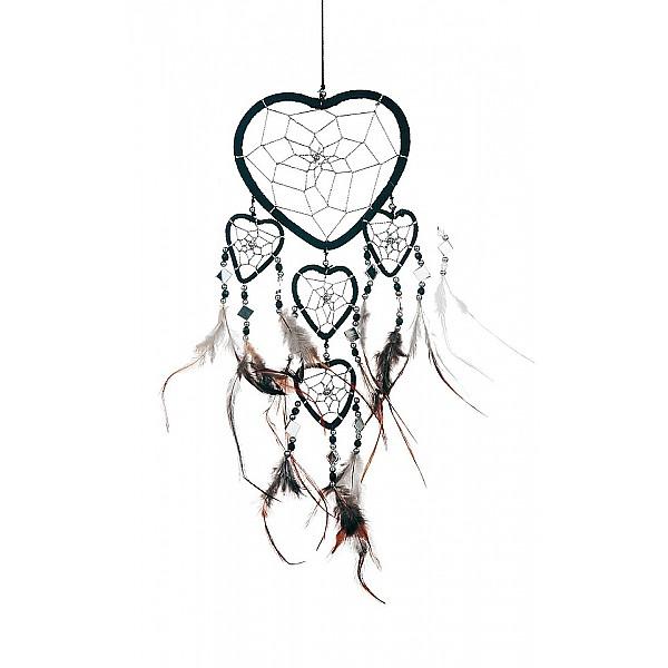 Drömfångare Hjärta med speglar - Svart