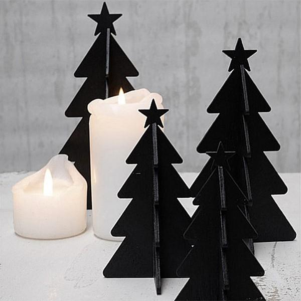 Julgran i trä med stjärna - Svart