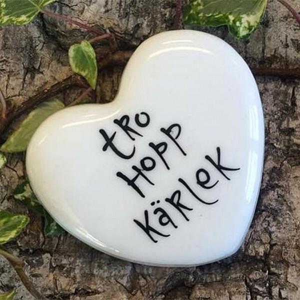 Porslinshjärta Tro Hopp Kärlek - Liten