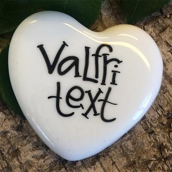 Porslinshjärta Valfri text - Liten