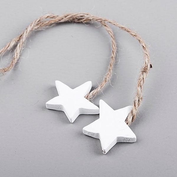 Trästjärnor 2 st på snöre Vit - 3,8 cm
