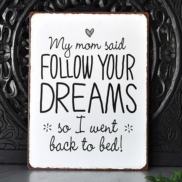 Plåtskylt My mom said follow your dreams