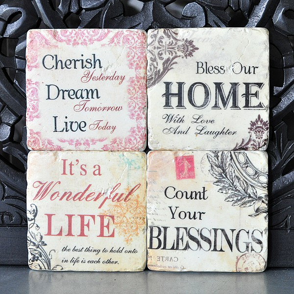 Glasunderlägg Home, Cherish, Life, Blessings