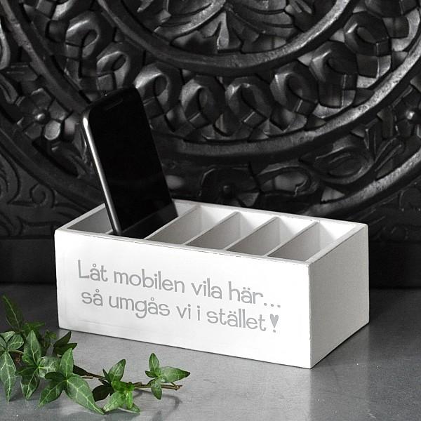 Trälåda Låt mobilen vila här