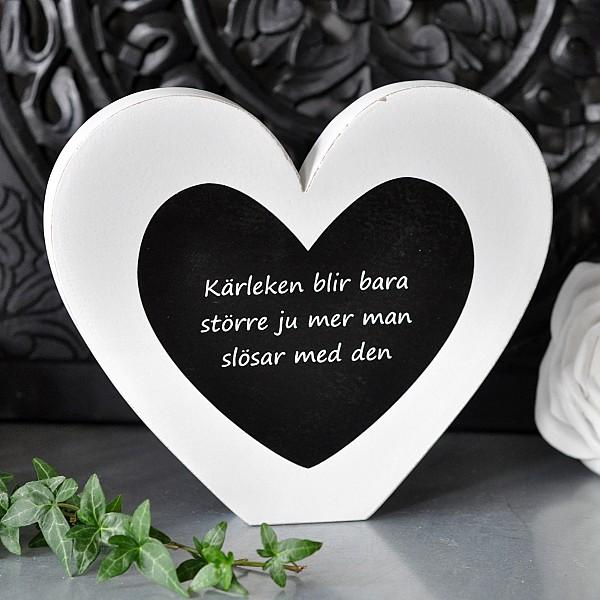 Stående Hjärta med text Kärleken