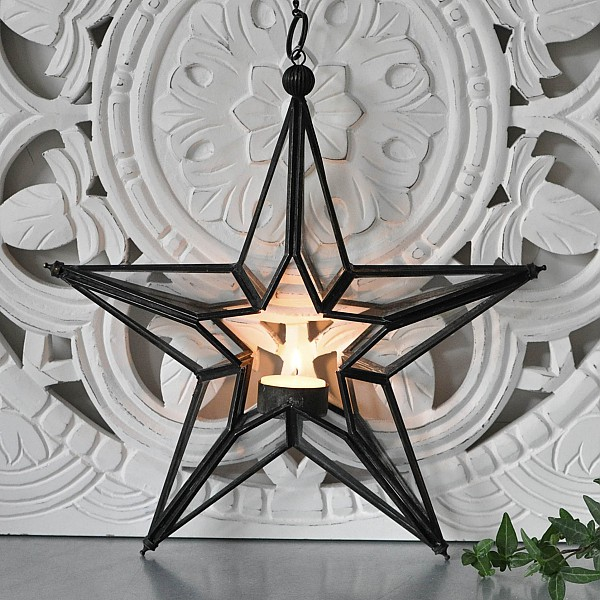 Hängande Ljuslykta Stjärna - Svart