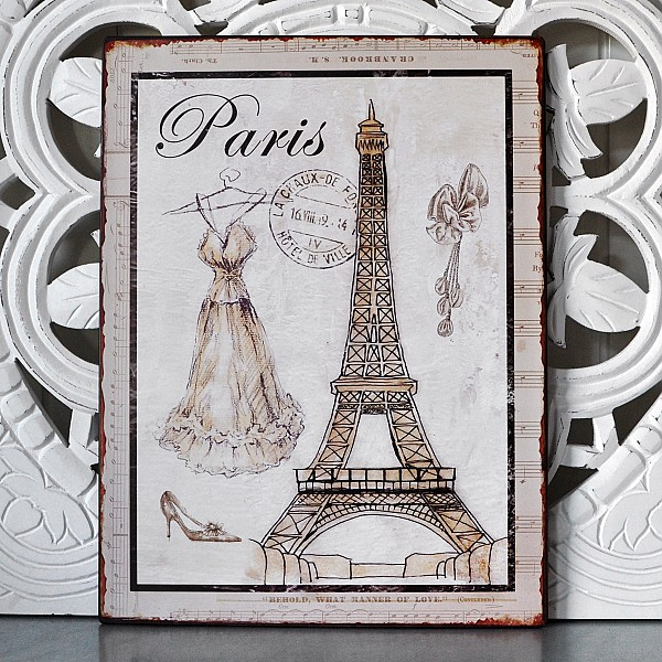 Plåtskylt Paris med eiffeltornet