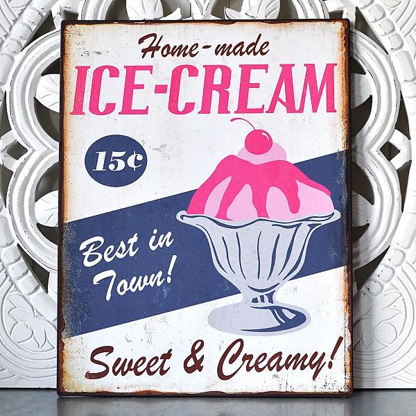 Plåtskylt ICE-CREAM