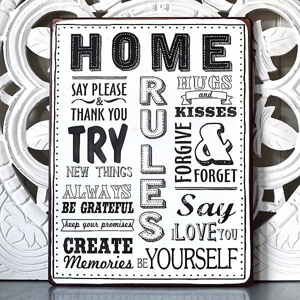Plåtskylt Home Rules