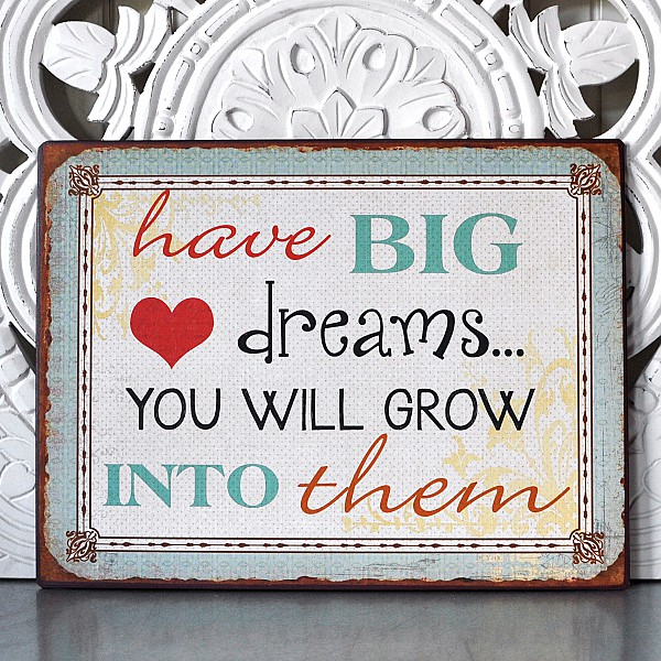 Plåtskylt Have big dreams