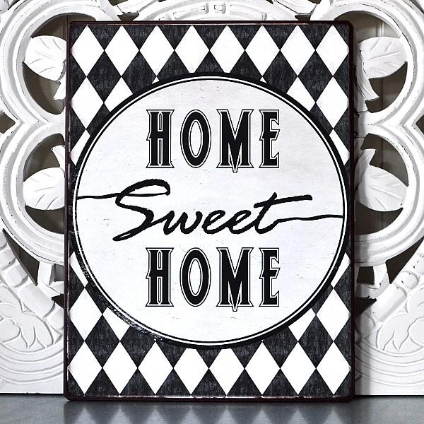 Plåtskylt Home Sweet Home - Harlekin