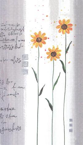 Hälsningskort Tre gula blommor