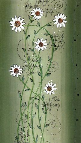 Hälsningskort Små vita blommor Grön bakgrund
