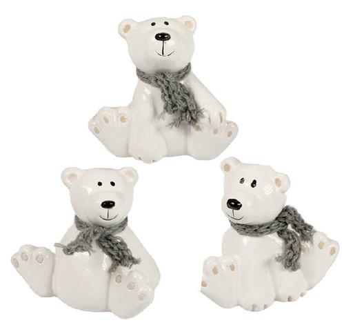 Isbjörnar med halsduk Vit - 3 st