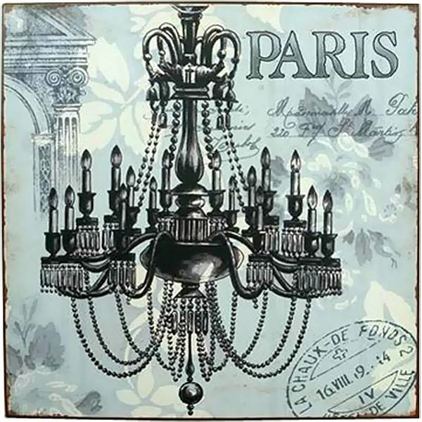 Plåtskylt Paris med kristallkrona