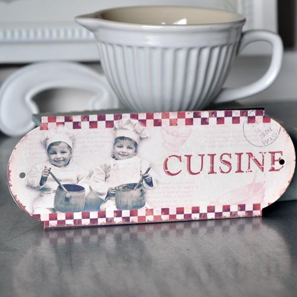 Plåtskylt Cuisine - Små kockar