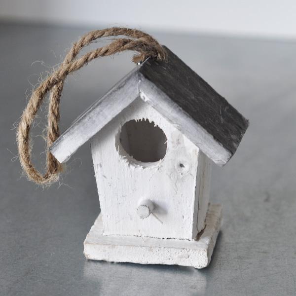 Fågelholk Mini - Vit/Grå