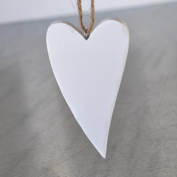 Trähjärta Vit - 10 cm