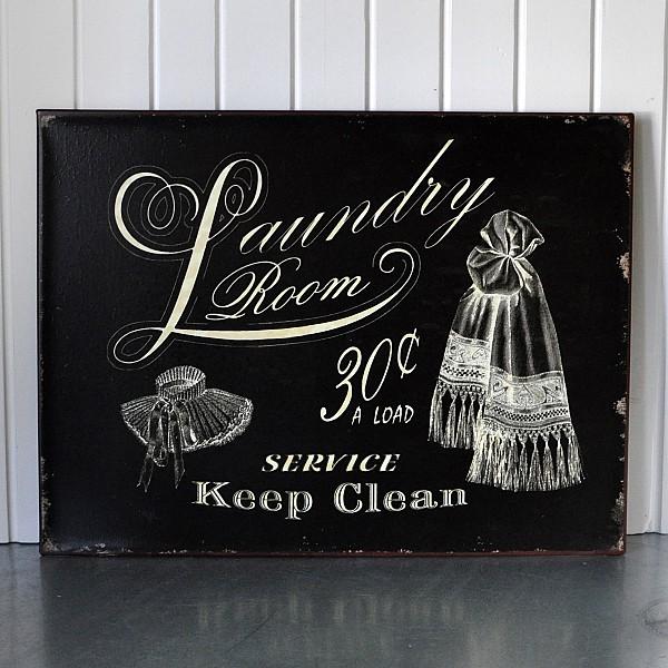 Plåtskylt Laundry Room - Svart